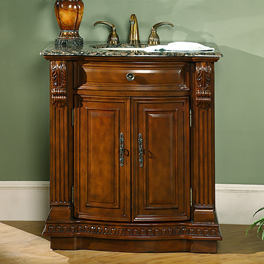 Silkroad Exclusive Empress English Chestnut Undermount Single Sink Bathroom Vanity with Granite Top (Common: 33-in x 22-in; Actual: 33-in x 22-in)