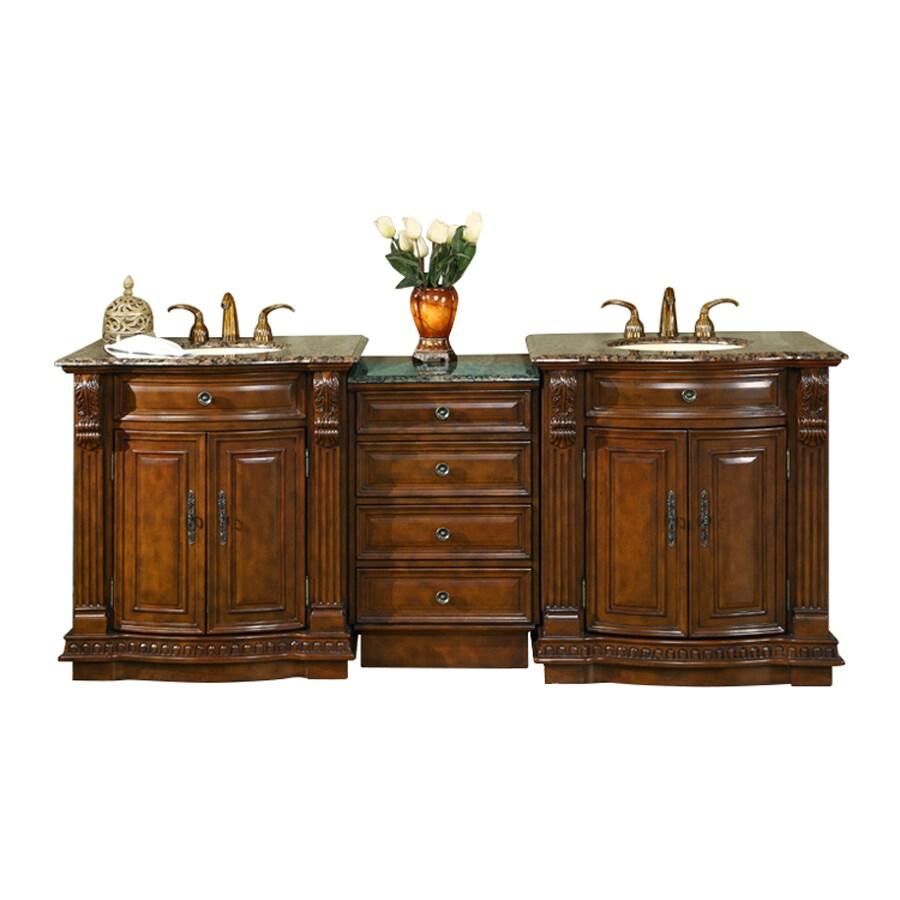 Silkroad Exclusive Empress English Chestnut Undermount Double Sink Bathroom Vanity with Granite Top (Common: 22-in; Actual: 84.5-in x 22-in)