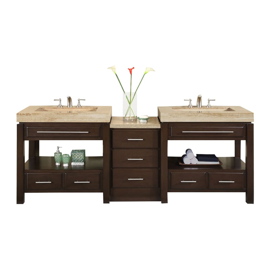 Silkroad Exclusive Stanton Dark Walnut Integral Double Sink Bathroom Vanity with Travertine Top (Common: 92-in x 23-in; Actual: 92-in x 23-in)