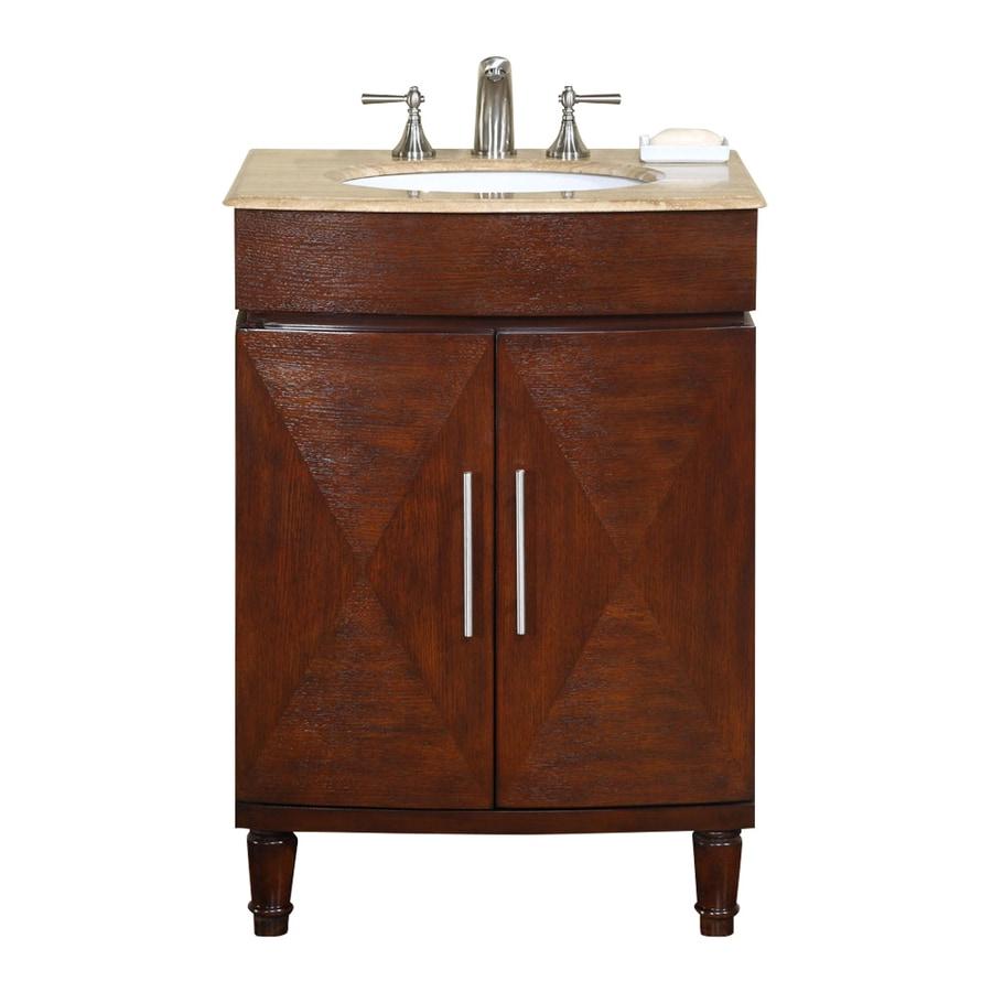 Silkroad Exclusive Cambridge Dark Chestnut Undermount Single Sink Bathroom Vanity with Granite Top (Common: 26-in x 21-in; Actual: 26-in x 21-in)