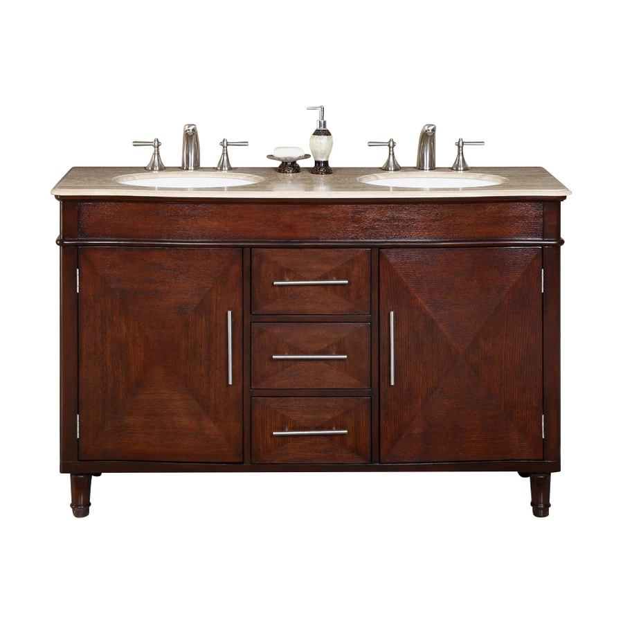 sink bathroom vanity with travertine top common x 21 in actual 55