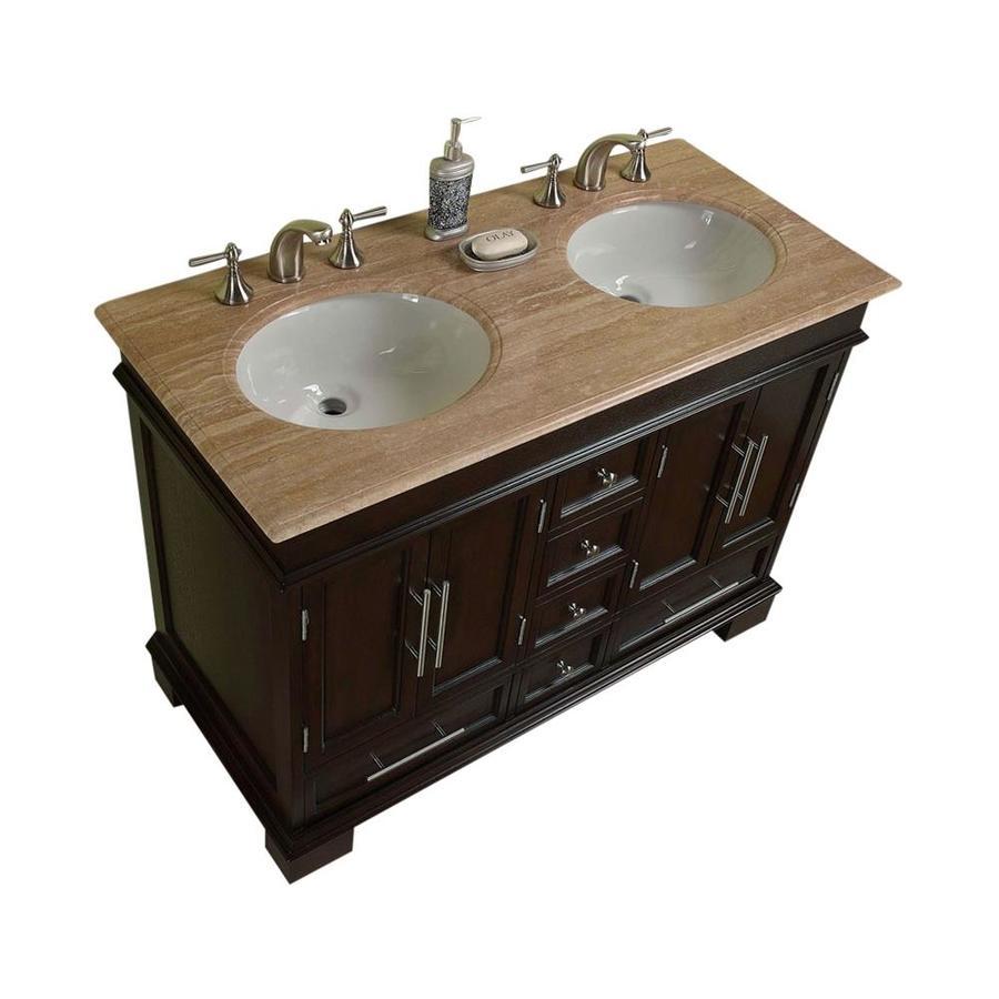 Silkroad Exclusive Ashley Dark Walnut Undermount Double Sink Bathroom Vanity with Travertine Top (Common: 48-in x 22-in; Actual: 48-in x 22-in)