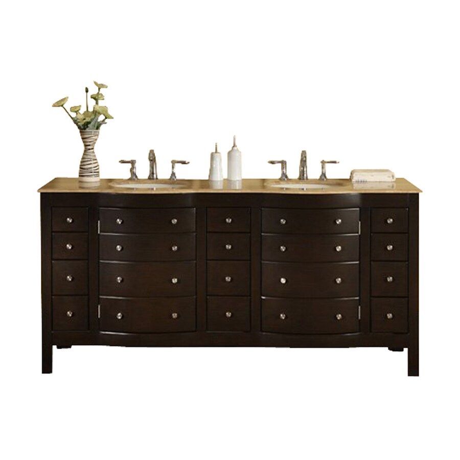 Silkroad Exclusive Dark Walnut Undermount Double Sink Bathroom Vanity with Travertine Top (Common: 72-in x 22-in; Actual: 72-in x 22-in)
