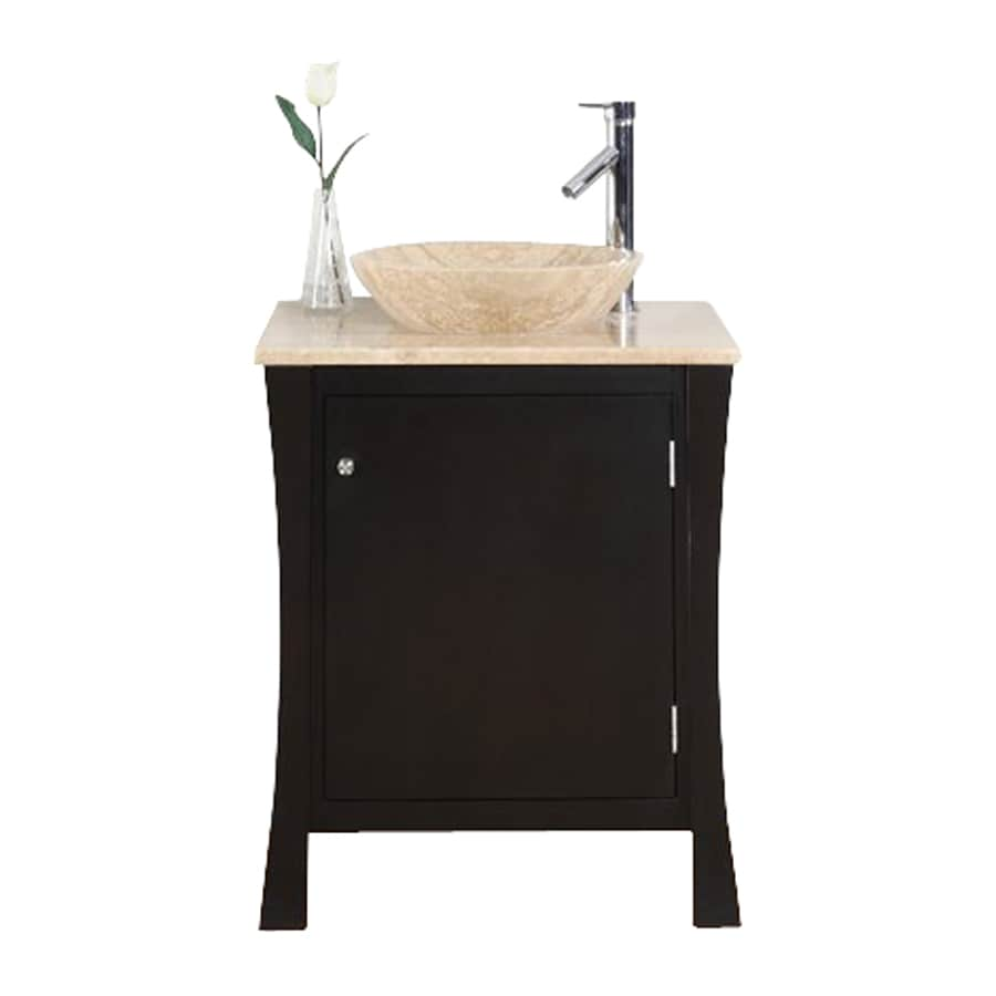 Shop Silkroad Exclusive Vanessa Dark Espresso Vessel Single Sink Bathroom Vanity With Travertine