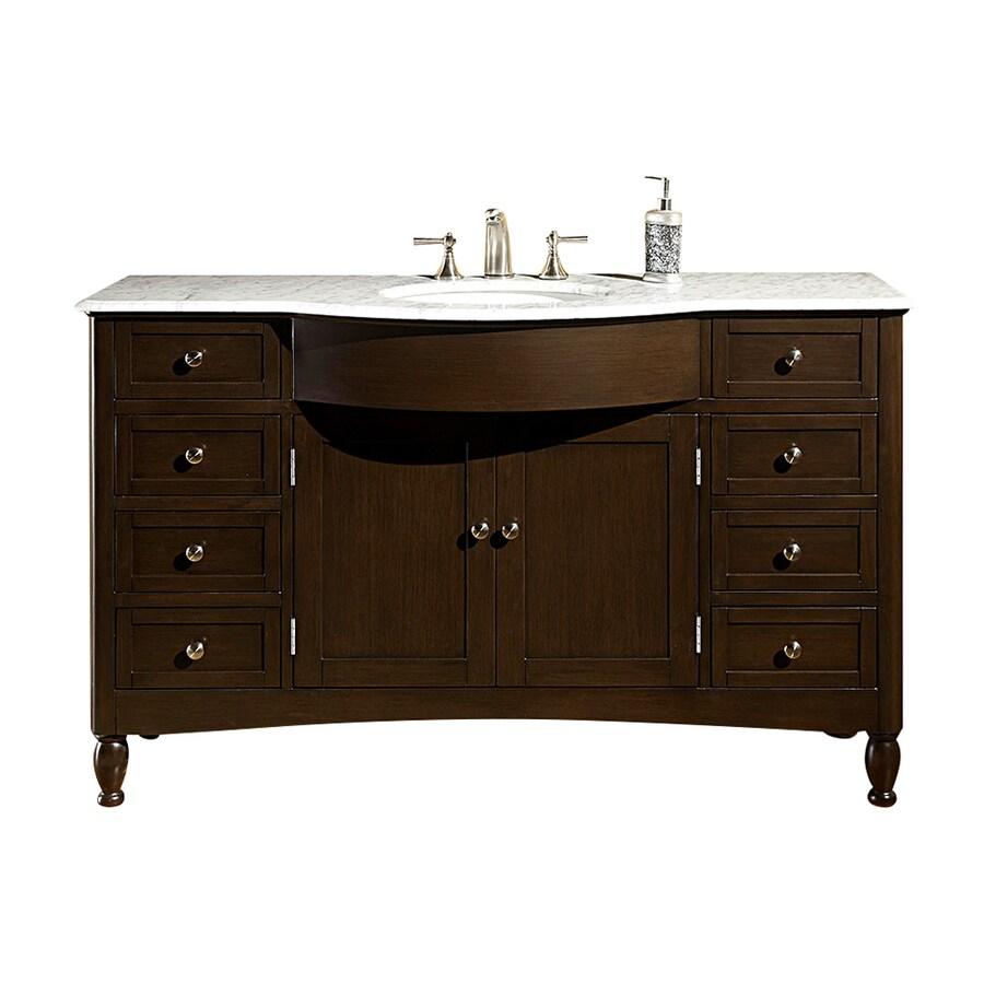 Shop silkroad exclusive kelston dark walnut undermount for Dark vanity bathroom