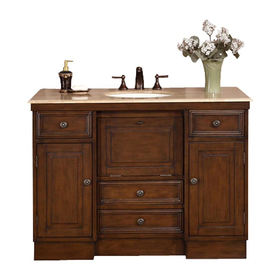 Silkroad Exclusive Alexis Walnut Undermount Single Sink Bathroom Vanity with Travertine Top (Common: 48-in x 22-in; Actual: 48-in x 22-in)