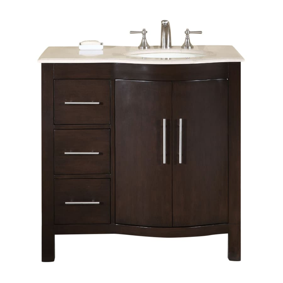 Shop silkroad exclusive kimberly dark walnut undermount single sink bathroom vanity with top Stores to buy bathroom vanities