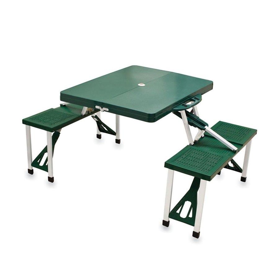 Picnic Time 2-ft 1-4/5-in Green Plastic Square Folding Picnic Table