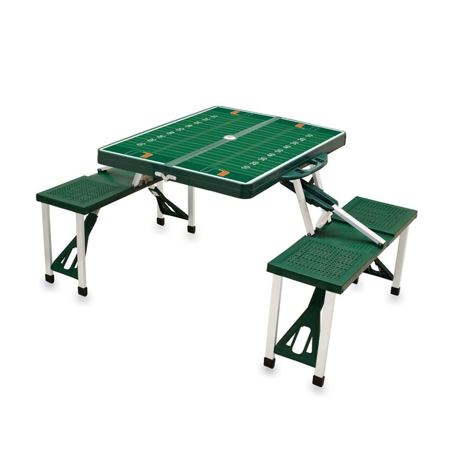 Picnic Time 2-ft 1-4/5-in Green University Of Miami Hurricanes Plastic Square Folding Picnic Table