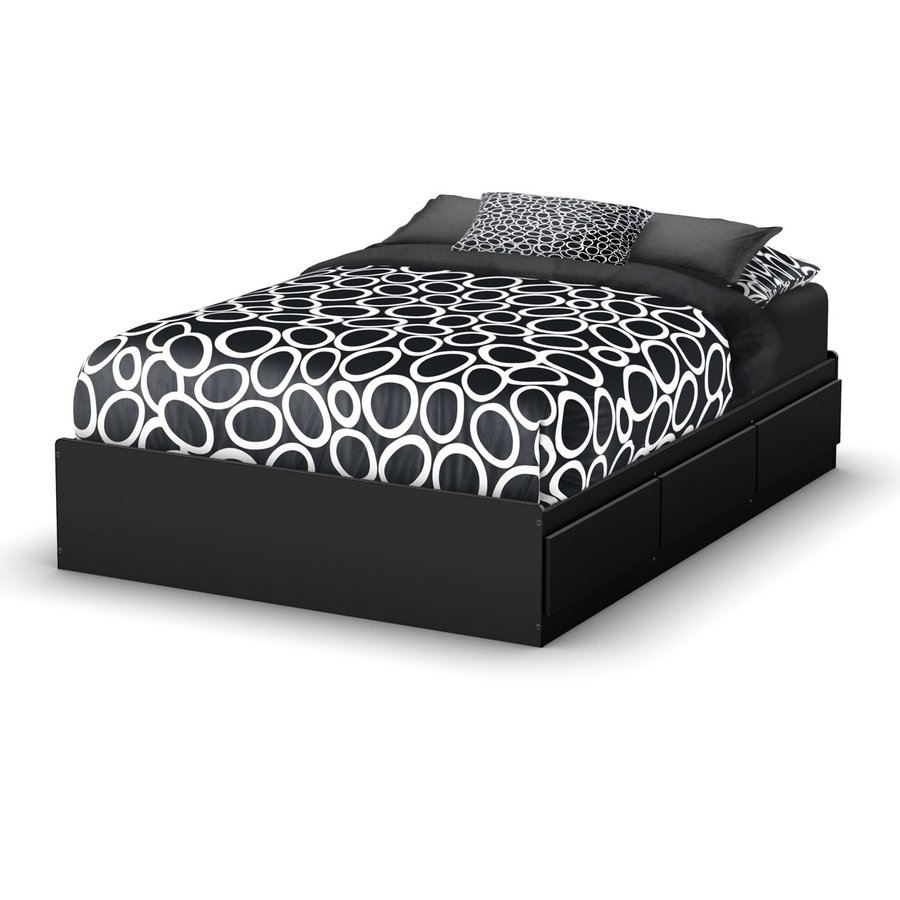 ... Shore Furniture Step One Pure Black Full Platform Bed with Storage