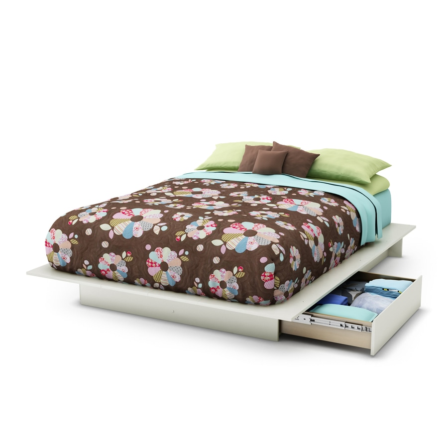 South Shore Furniture Step One Pure White Full/Queen Platform Bed with Storage