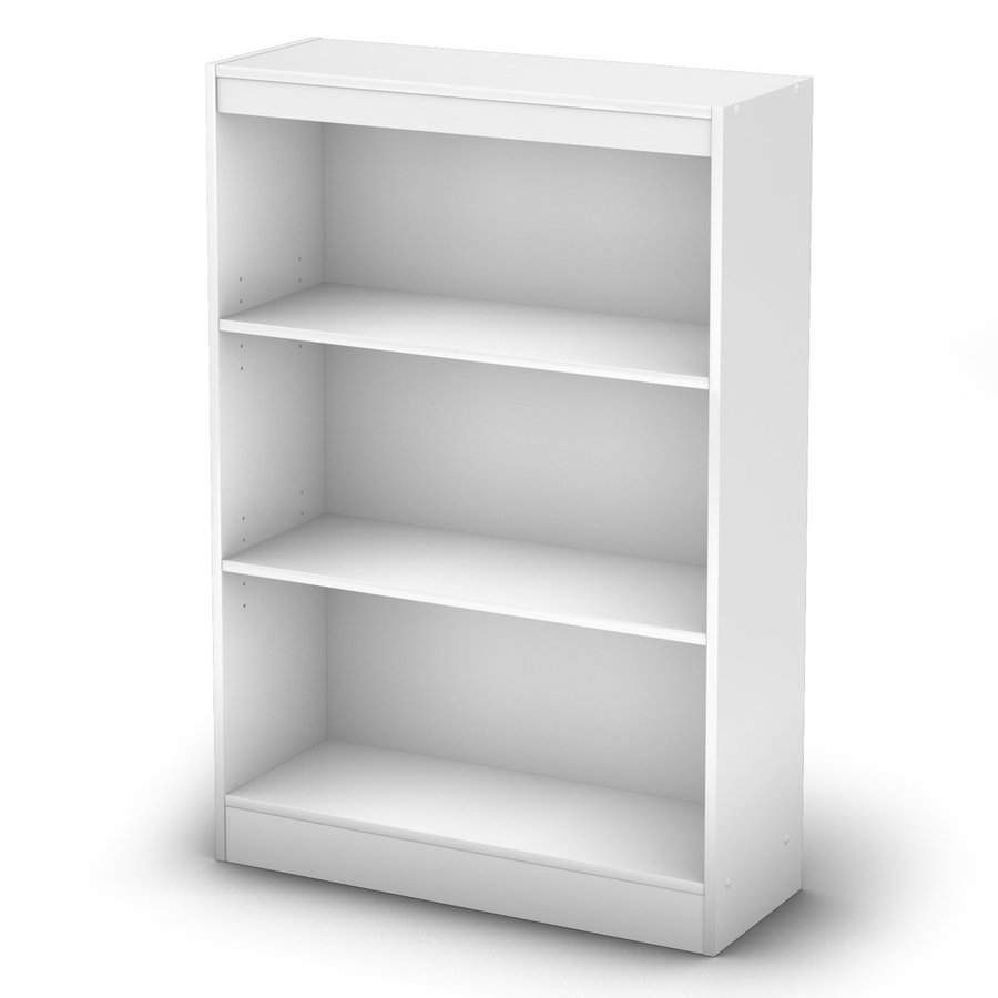 South Shore Furniture Axess Pure White 30.75-in W x 45-in H x 11.5-in D 3-Shelf Bookcase