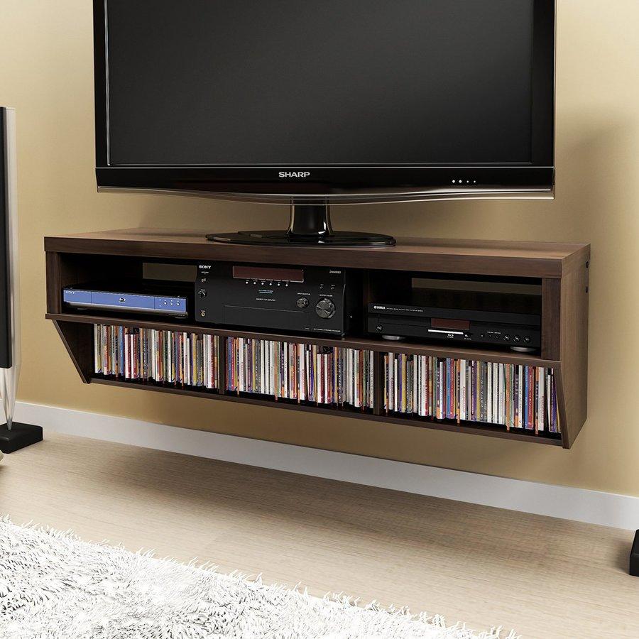 Prepac Furniture Series 9 Espresso Rectangular Wall-Mount Television Stand