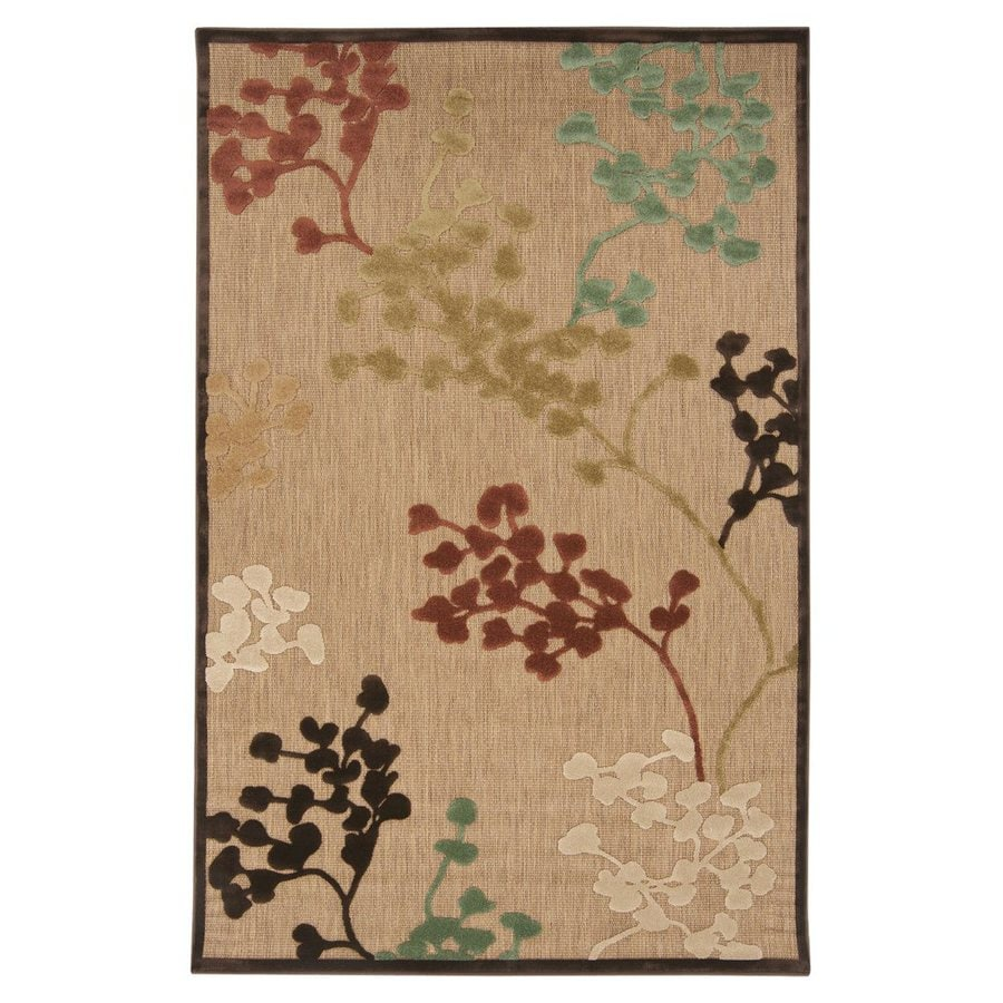 Surya Portera Tan Rectangular Indoor/Outdoor Machine-Made Nature Area Rug (Common: 5 x 8; Actual: 60-in W x 90-in L)