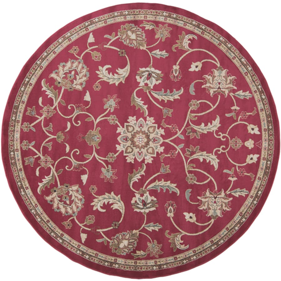 Surya Riley Coral Round Indoor Machine-Made Oriental Area Rug (Actual: 8-ft Dia)