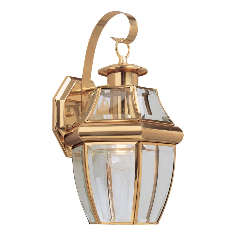 Sea Gull Lighting Lancaster 14-in H Polished Brass Outdoor Wall Light