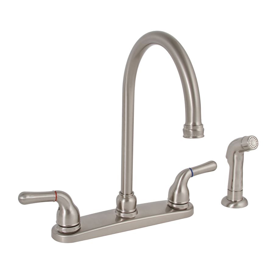 Shop Premier Faucet Sanibel Brushed Nickel 2 Handle High Arc Kitchen Faucet With Side Spray At