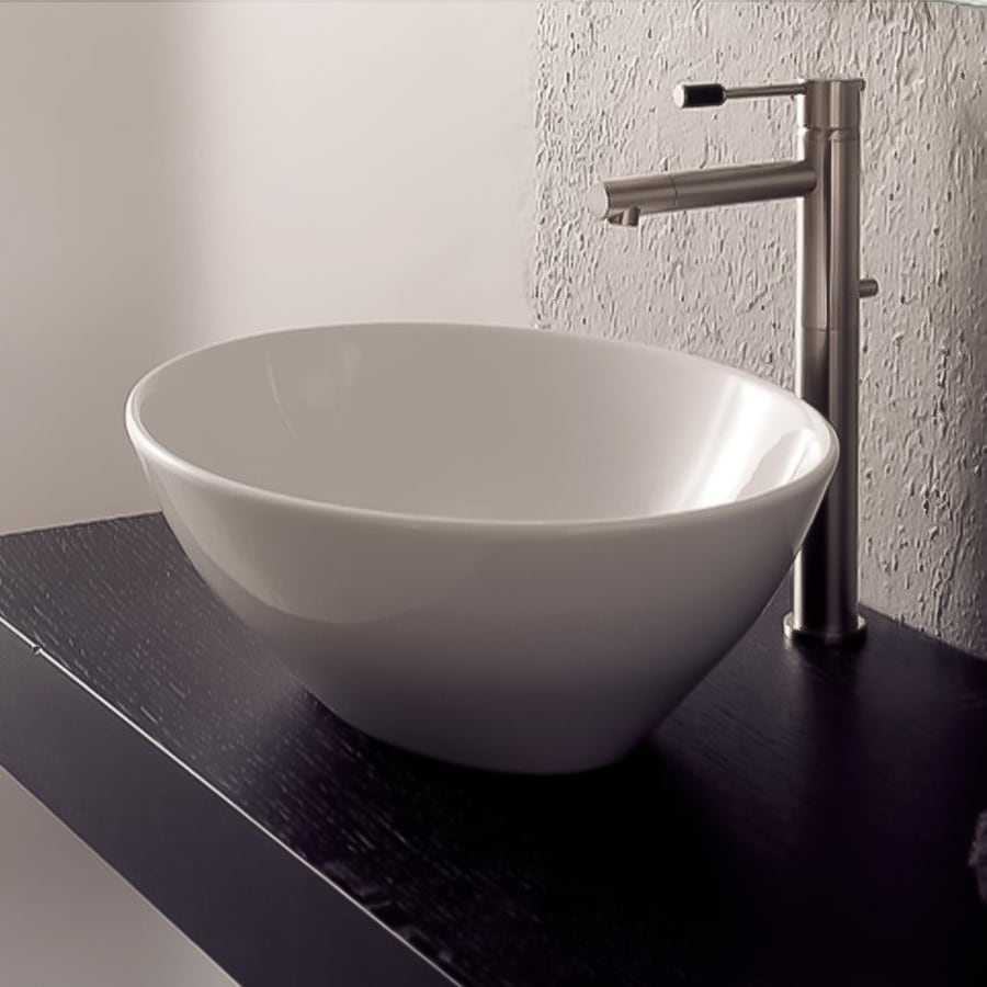 White Vessel Bathroom Sink : Shop Nameeks Scarabeo White Vessel Oval Bathroom Sink at Lowes.com