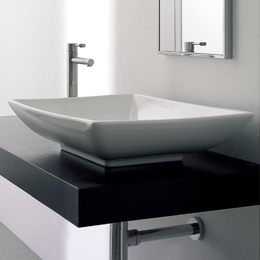 Nameeks Scarabeo White  Vessel Square Bathroom Sink