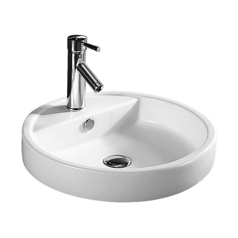 Nameeks Ceramica White Ceramic Vessel Round Bathroom Sink