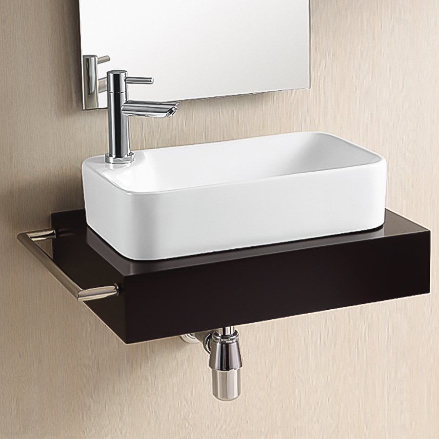 Shop nameeks ceramica white ceramic vessel rectangular for Photos of bathroom sinks
