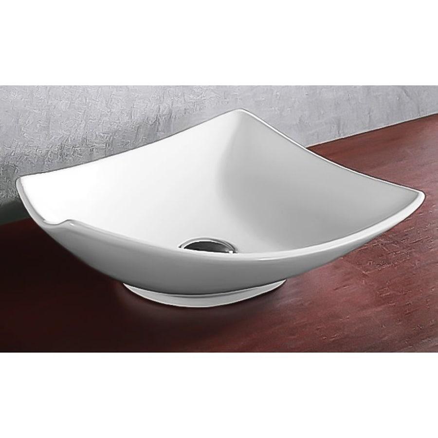 Nameeks Ceramica White Ceramic Vessel Square Bathroom Sink