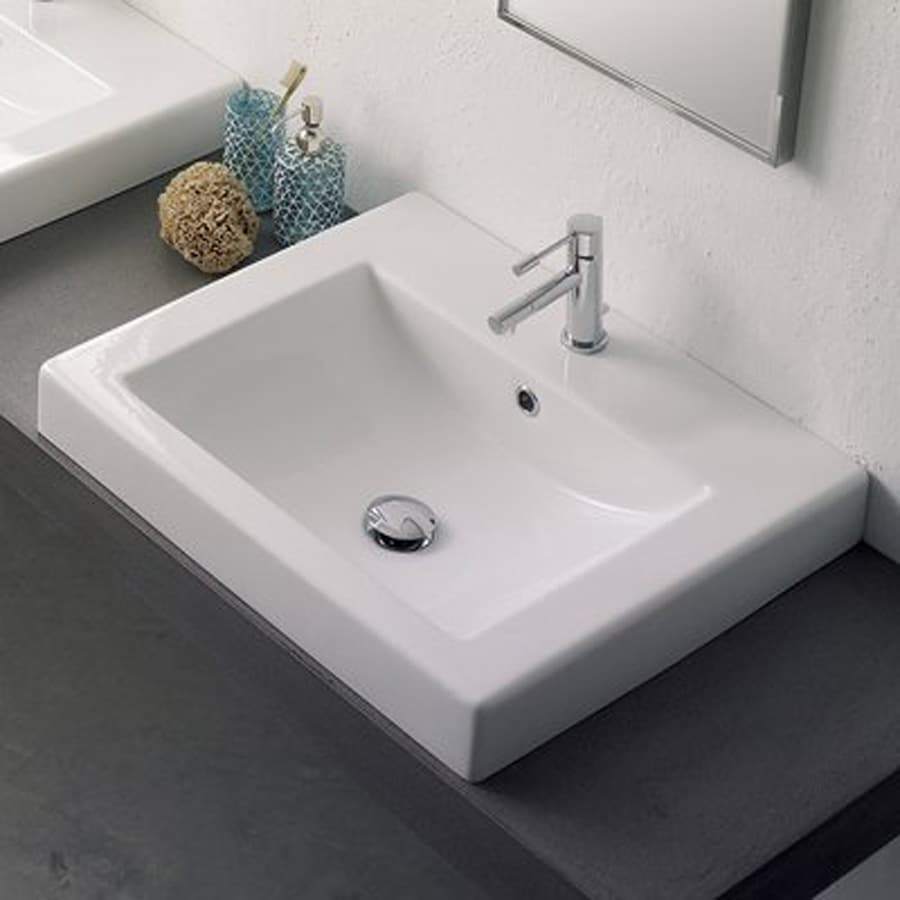 Shop Nameeks Scarabeo White Vessel Rectangular Bathroom Sink At