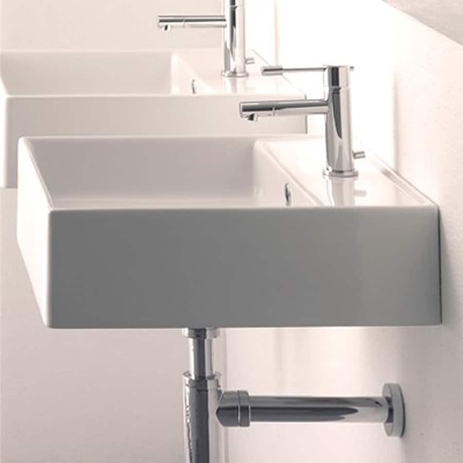 Nameeks Scarabeo White Wall-Mount Square Bathroom Sink with Overflow