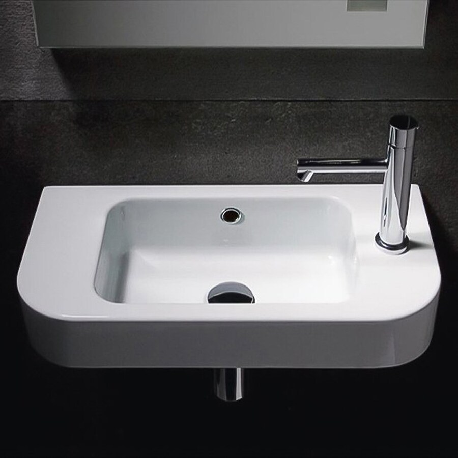 shop nameeks traccia white ceramic wall mount rectangular bathroom sink with overflow at