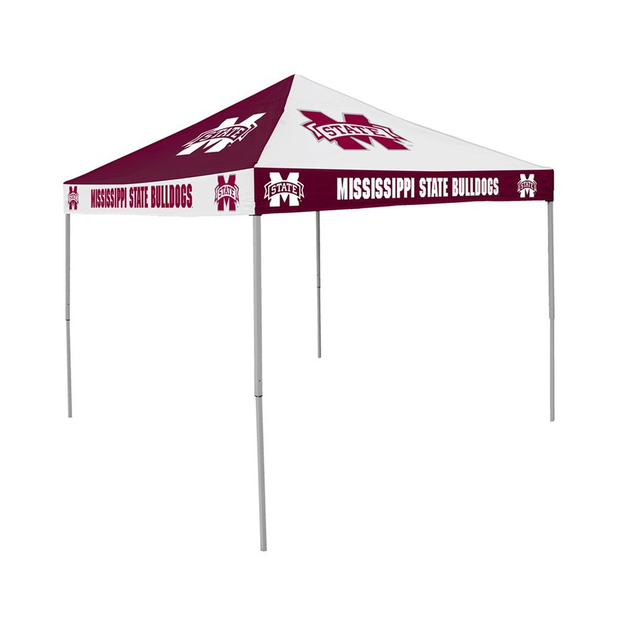 Logo Chairs Checkerboard 9-ft W x 9-ft L Square NCAA Mississippi State University Bulldogs Steel Pop-Up Canopy