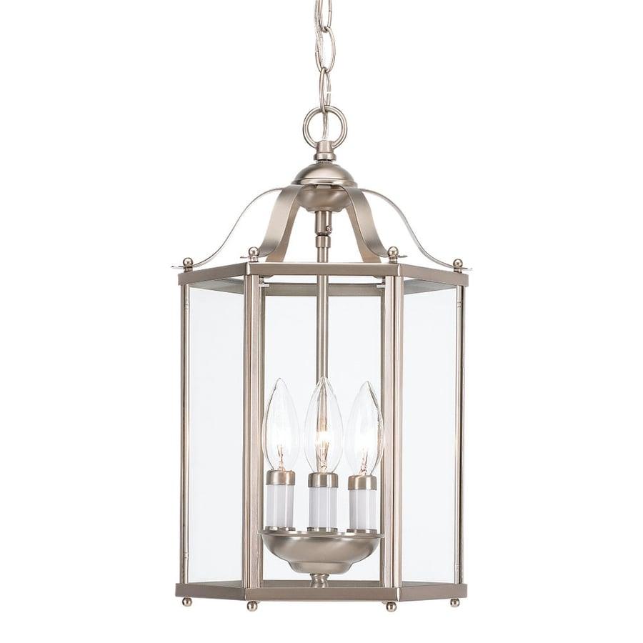 shop sea gull lighting bretton 9 in brushed nickel vintage mini clear glass lantern pendant at. Black Bedroom Furniture Sets. Home Design Ideas