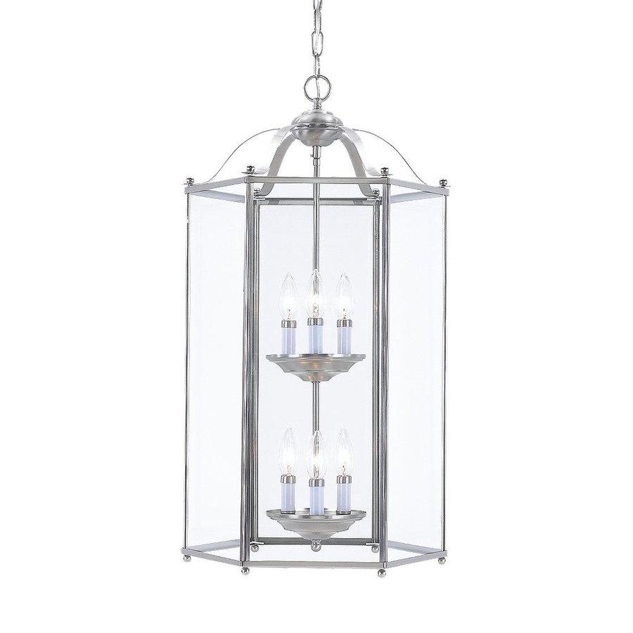 Sea Gull Lighting Bretton 16-in Brushed Nickel Single Clear Glass Lantern Pendant