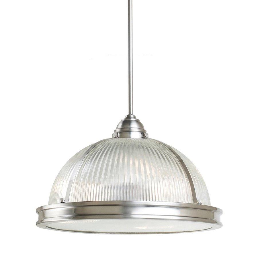 Sea Gull Lighting Pratt Street 16.25-in Brushed Nickel Industrial Single Ribbed Glass Warehouse Pendant