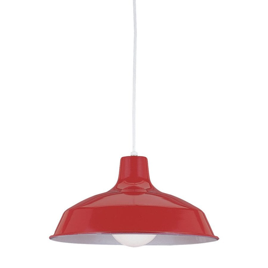 Sea Gull Lighting Painted Shade 16-in Red Industrial Single Warehouse Pendant