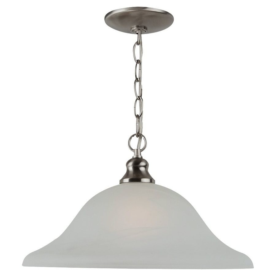Sea Gull Lighting Windgate 13.18-in Brushed Nickel Single Alabaster Glass Bell Pendant