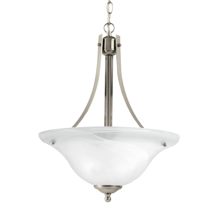 Sea Gull Lighting Windgate 15.75-in Brushed Nickel Single Alabaster Glass Bowl Pendant