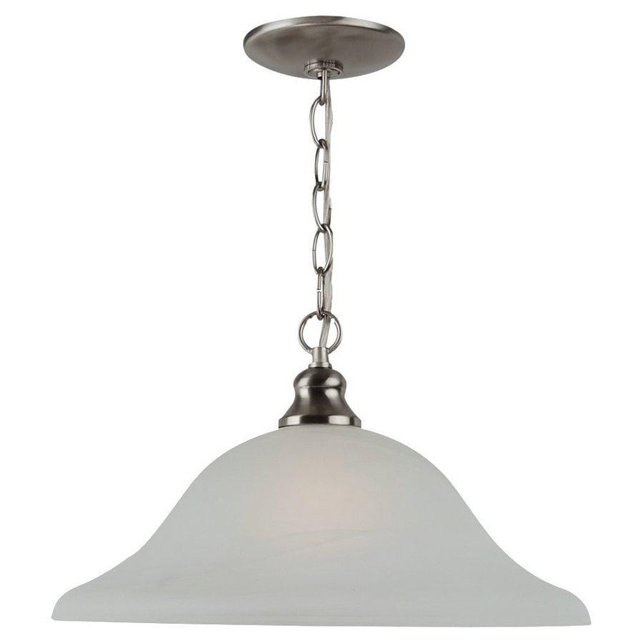 Sea Gull Lighting Windgate 15.75-in Brushed Nickel Single Alabaster Glass Bell Pendant