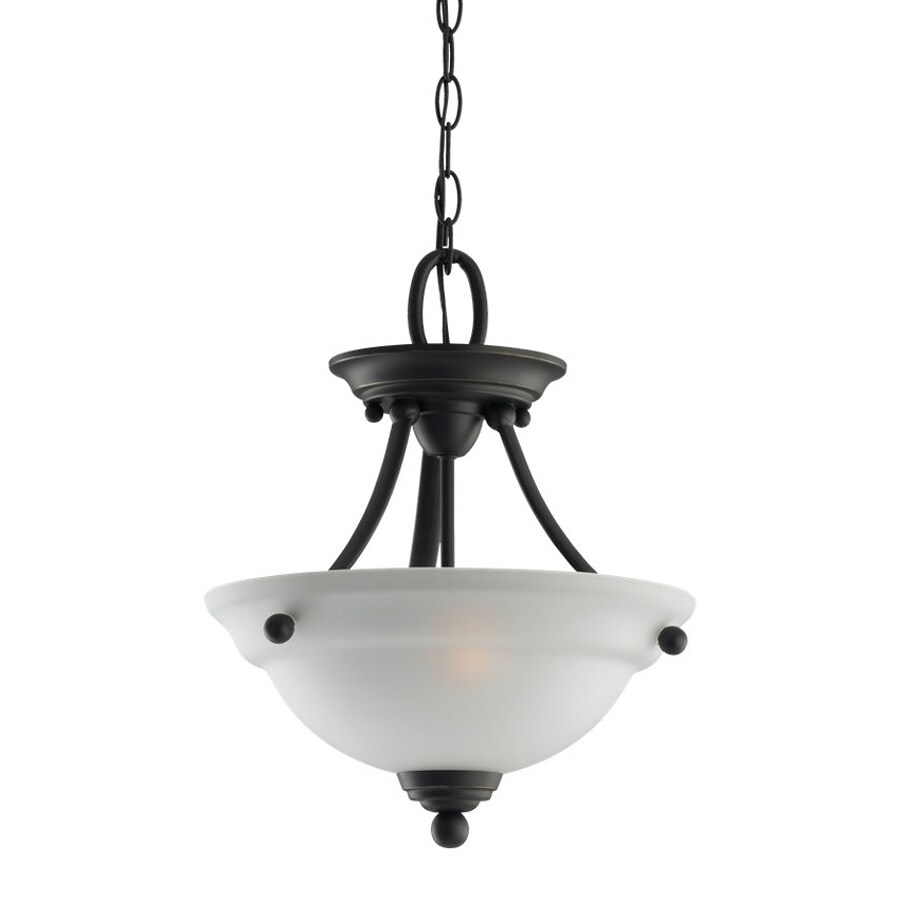 Sea Gull Lighting Wheaton 12.44-in Heirloom Bronze Single Etched Glass Bowl Pendant