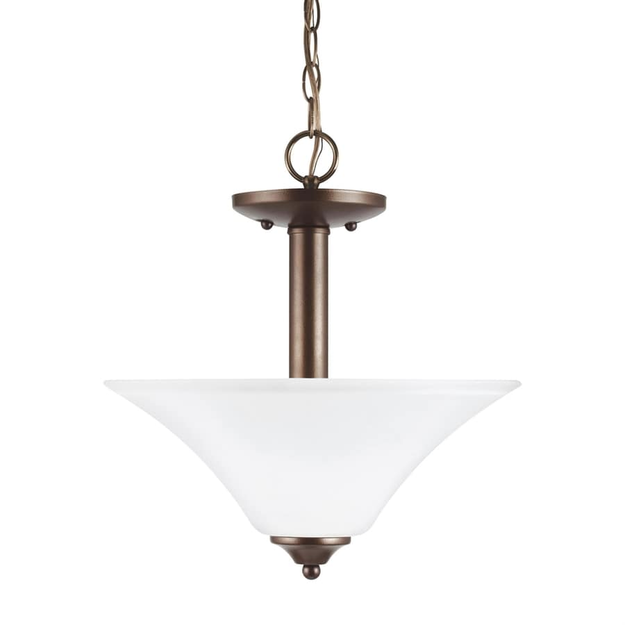 Sea Gull Lighting Holman 13.25-in Bell Metal Bronze Single Etched Glass Bowl Pendant