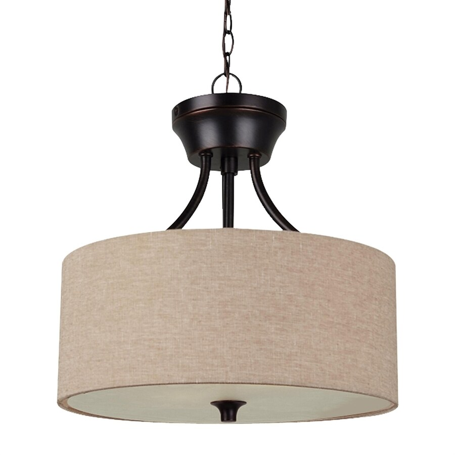 Shop Sea Gull Lighting Stirling 14 In Burnt Sienna Single Drum Pendant At Low