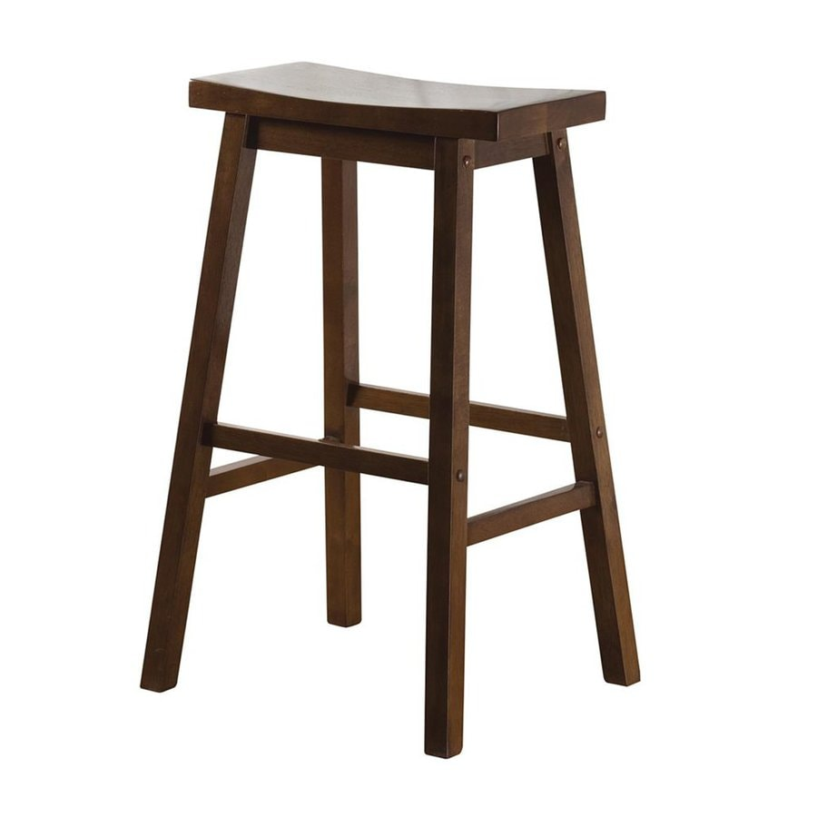 American Heritage Billiards Wood Saddle Walnut 30-in Bar Stool
