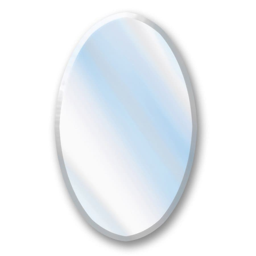 American Pride 22-in W x 38-in H Oval Frameless Bathroom Mirror with Hardware and Beveled Edges