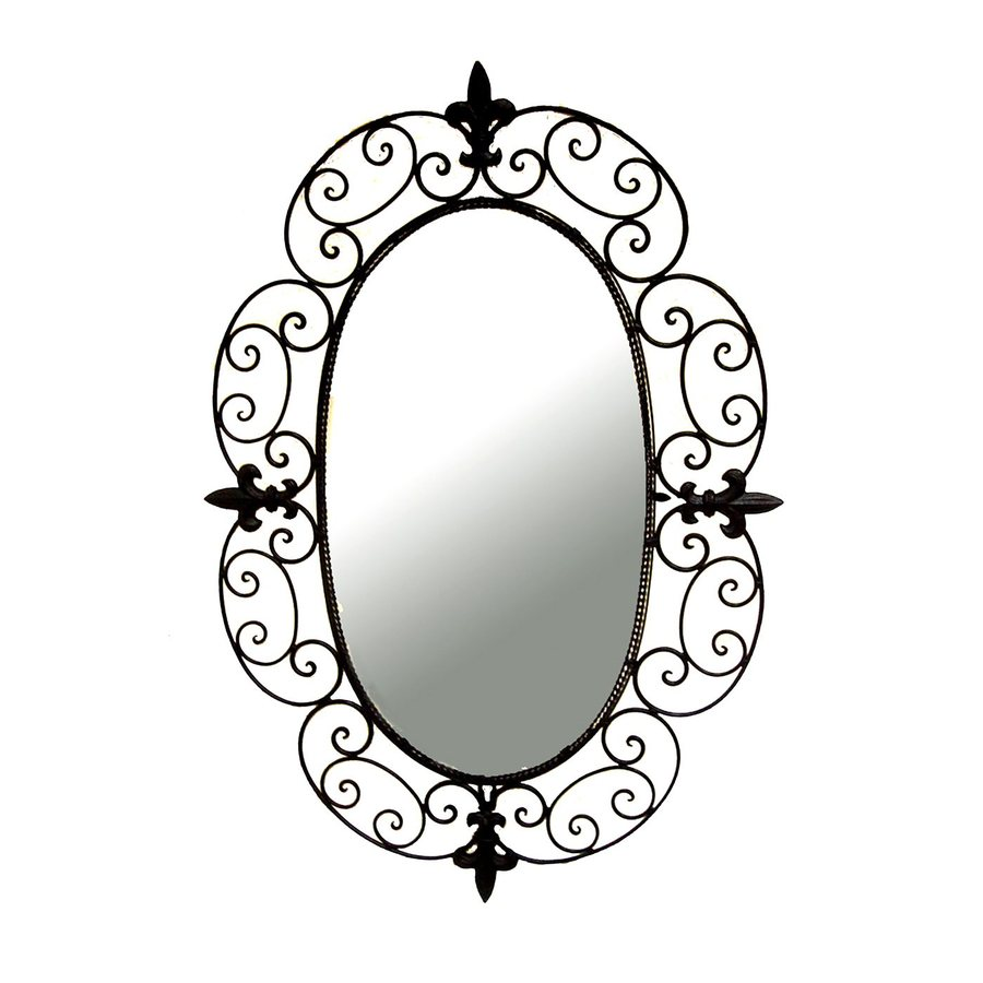 Ashton Sutton Fluer di Lis 20-in x 29-in Black Polished Oval Framed French Wall Mirror