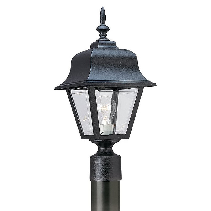 Shop sea gull lighting painted polycarbonate 18 in h black for Lamp post light lowes