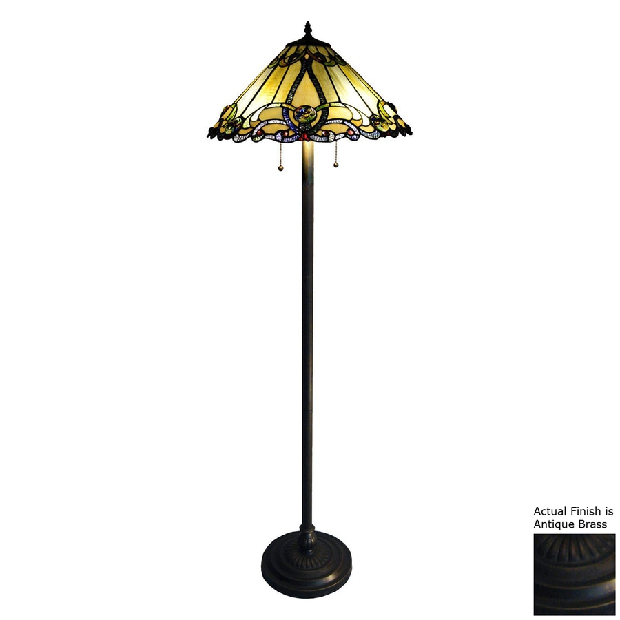 Brass Floor Lamp Amazon: Shop Chloe Lighting Victorian 63-in Antique Brass Tiffany