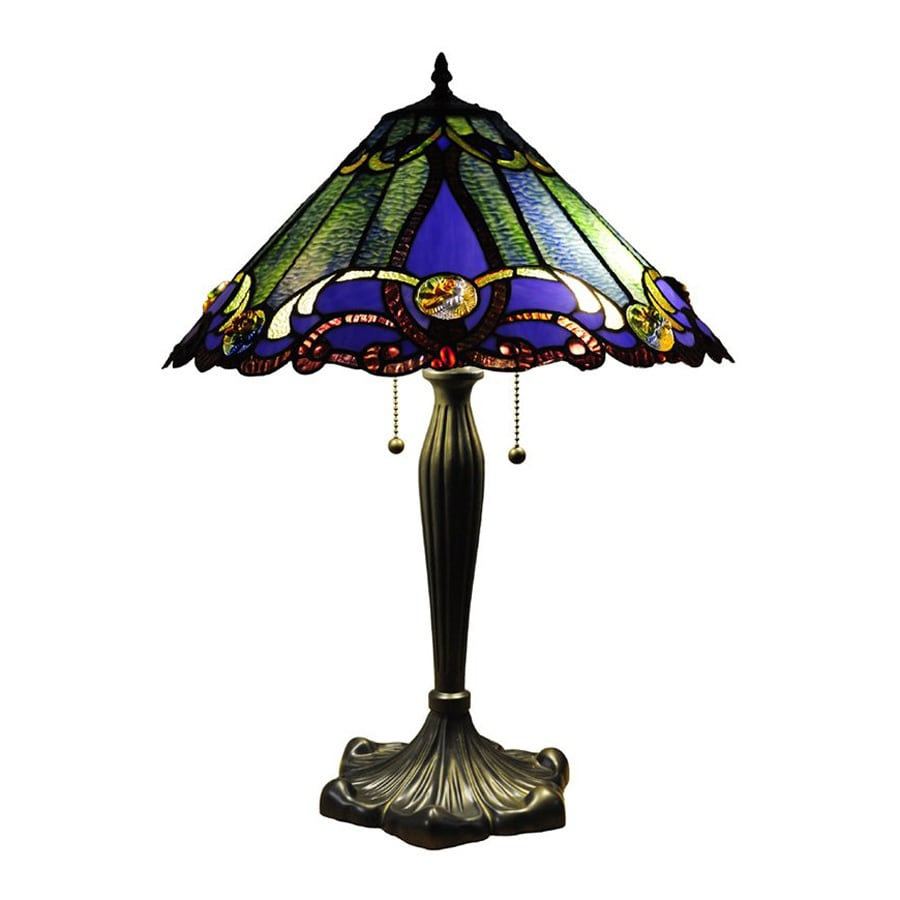 victorian 26 in bronze tiffany style indoor table lamp with glass. Black Bedroom Furniture Sets. Home Design Ideas