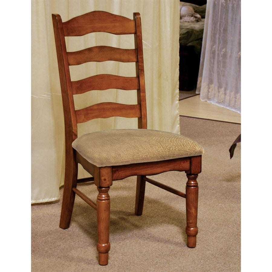 Furniture of America Set of 2 Spring Creek Antique Oak Side Chairs