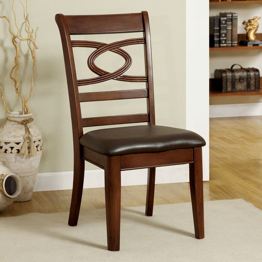Furniture of America Set of 2 Carlton Brown Cherry Side Chair