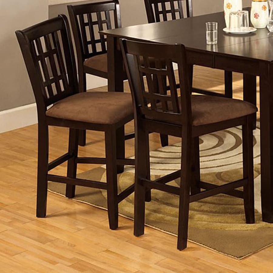 Furniture of America Set of 2 Eleanor Espresso 25.5-in Counter Stool