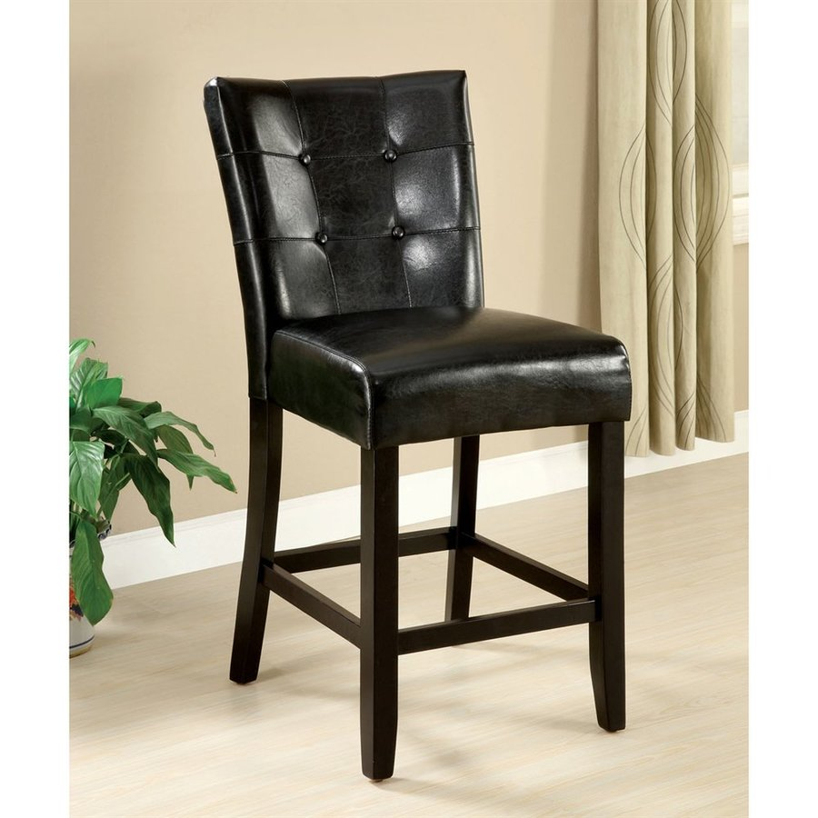 Furniture of America Set of 2 Marion Espresso 26-in Counter Stool